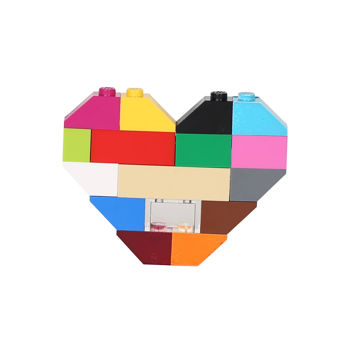 Uni Hearts of Bricks Brooch Multi Colored